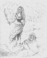 Wet Girl With Sword